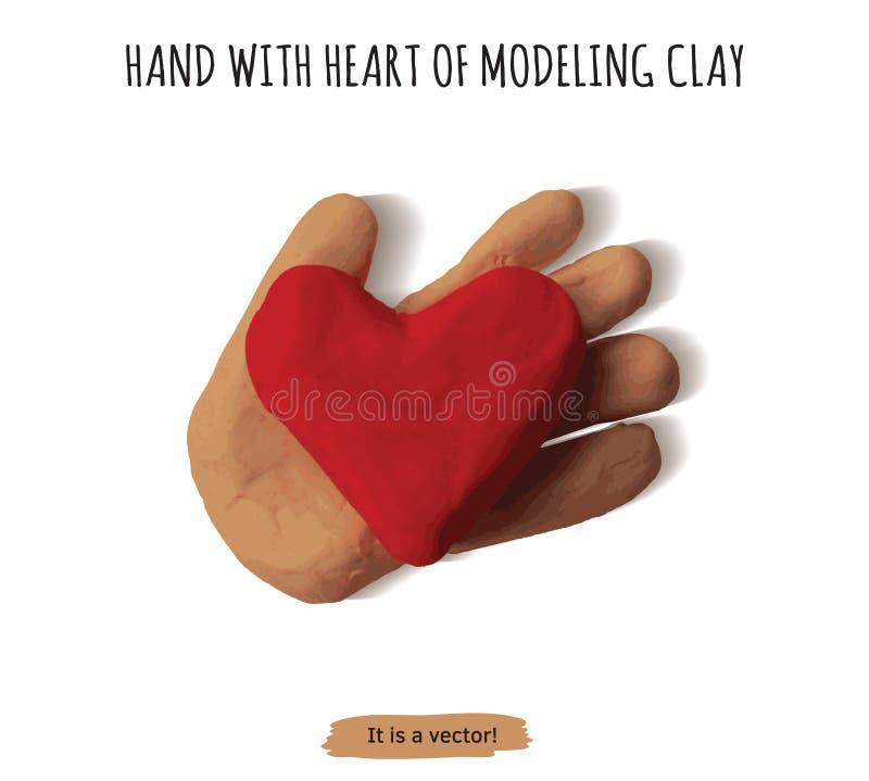 Mão isolada do objeto com argila de modelagem do coração ilustração stock
