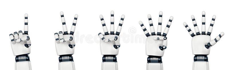 Mão isolada do robô que conta no branco fotografia de stock