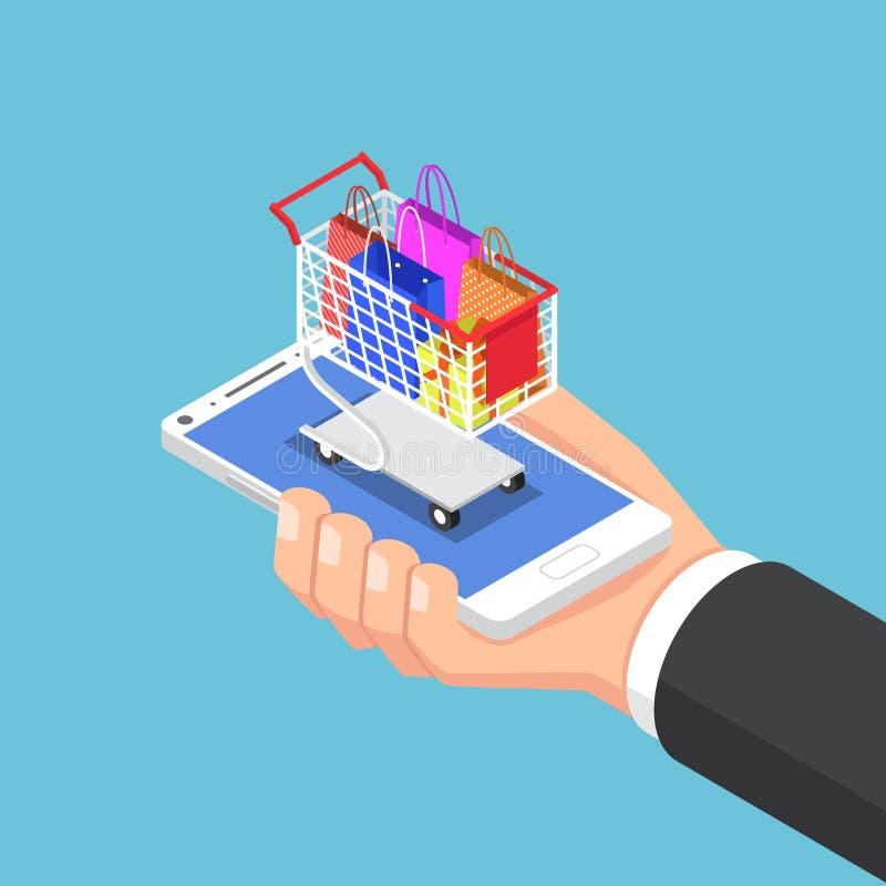 Mão isométrica do homem de negócios com saco de compras e carro no smartph ilustração stock