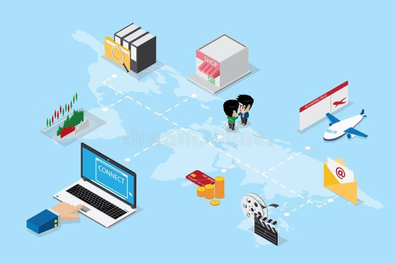 A mão isométrica do negócio usando o portátil a em linha e conecta o mundo ilustração do vetor