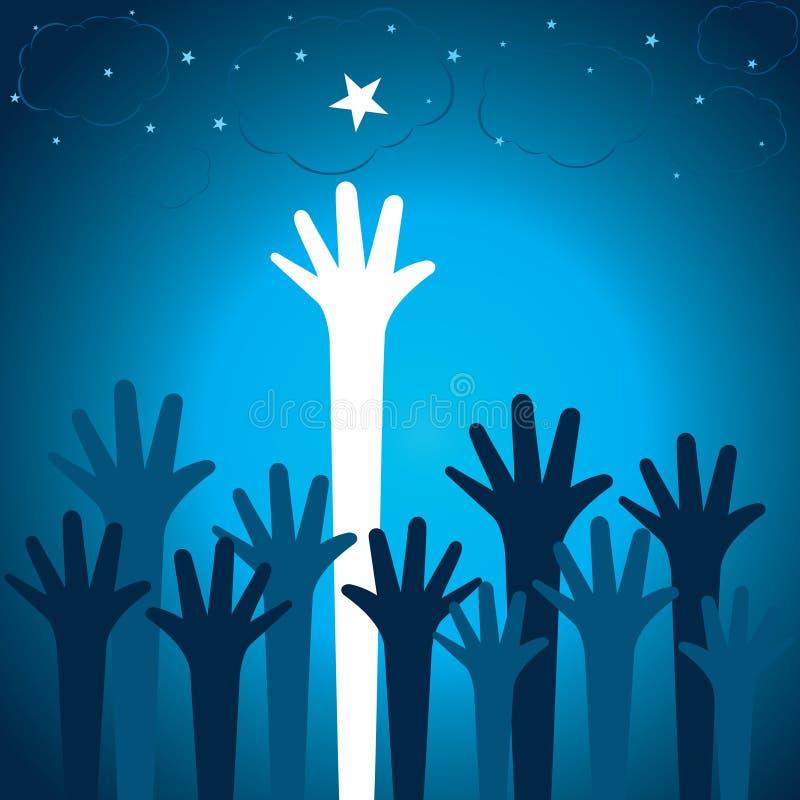 A mão levanta acima para a estrela ilustração do vetor