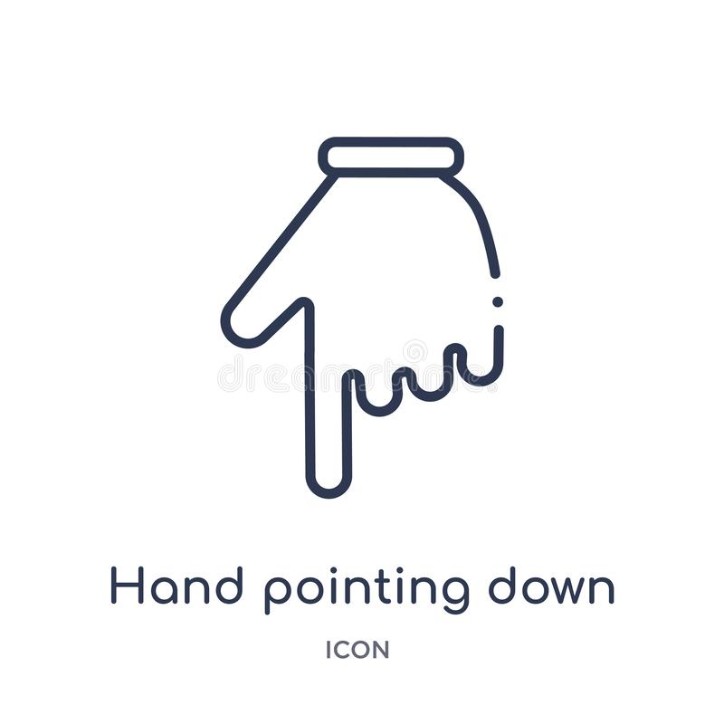 Mão linear que aponta abaixo do ícone das mãos e da coleção do esboço dos guestures Linha fina mão que aponta abaixo do ícone iso ilustração royalty free