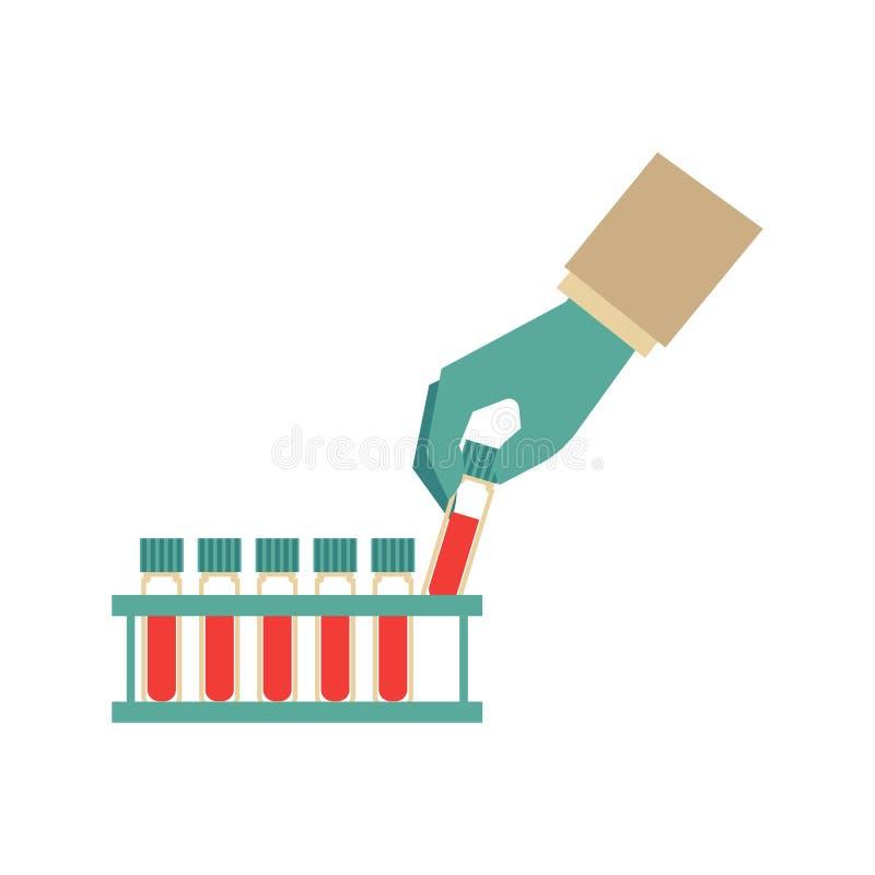 Mão lisa com o tubo de ensaio com ícone do sangue ilustração do vetor