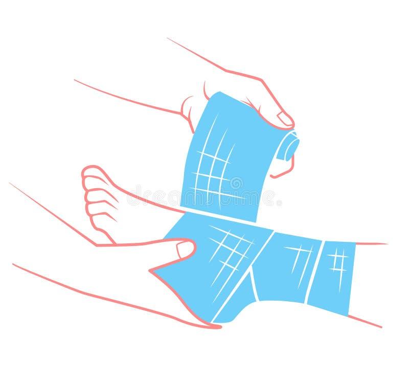 Mão lisa que enfaixando o pé ilustração royalty free