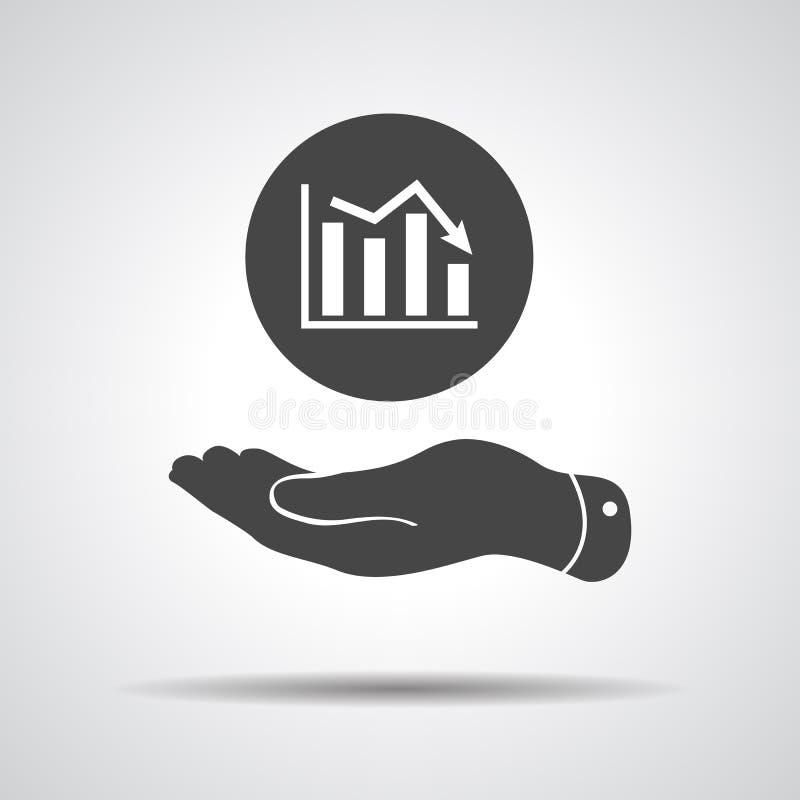 Mão lisa que mostra o ícone do gráfico que vai para baixo ilustração royalty free