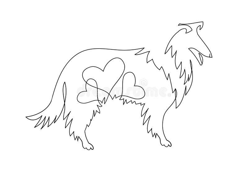 A mão livre tirado ilustração da collie Ilustração isolada no fundo branco, logotipo, projeto do t-shirt ilustração royalty free