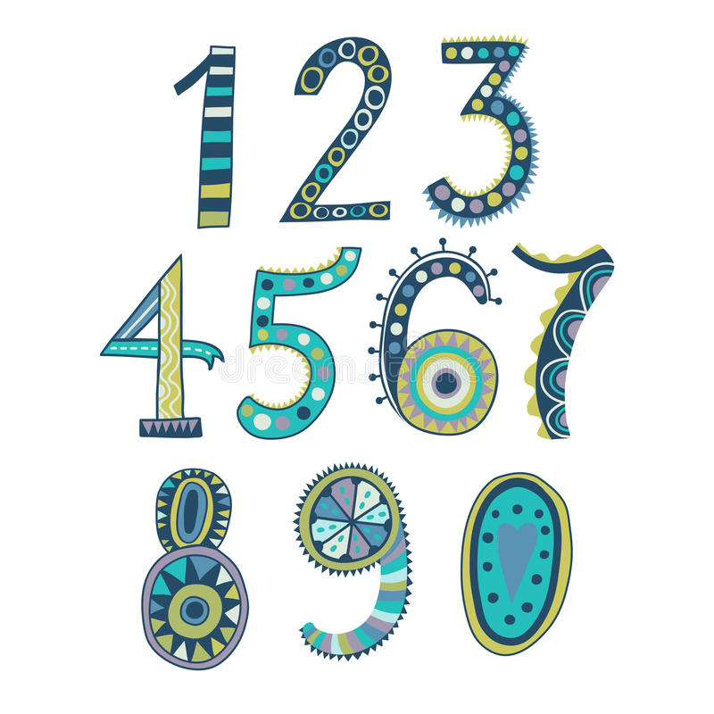 Mão lunática números tirados, um a zero Números desenhados mão Ilustração do esboço do vetor isolada no fundo branco ilustração stock
