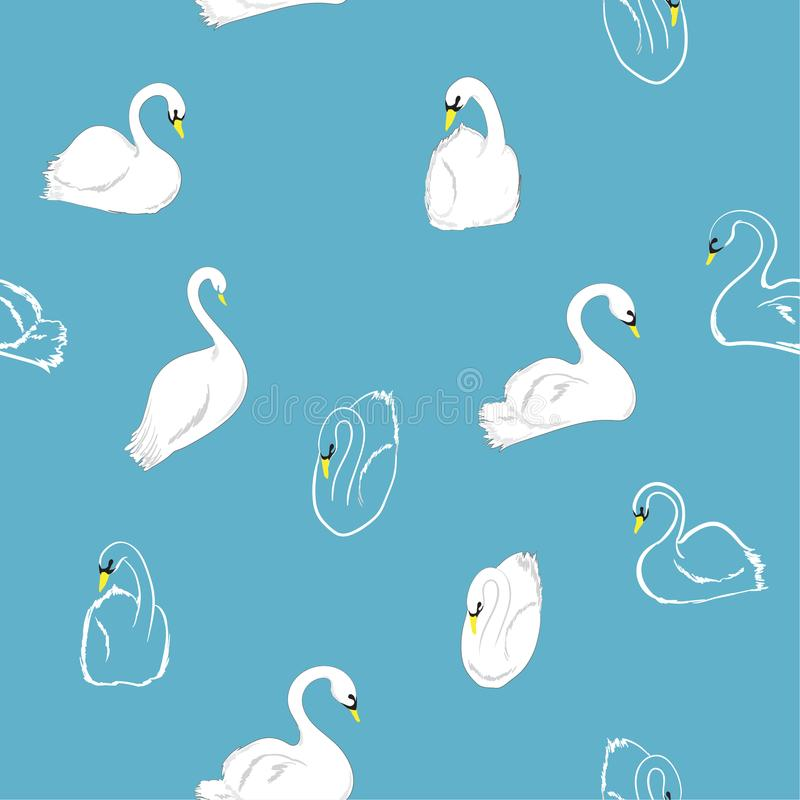 Mão mínima teste padrão sem emenda tirado das cisnes no lago Vetor ilustração do vetor