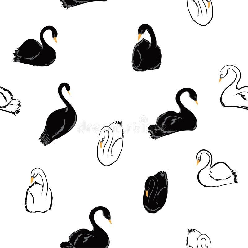 Mão mínima tirada para trás e teste padrão sem emenda branco das cisnes dentro ilustração royalty free