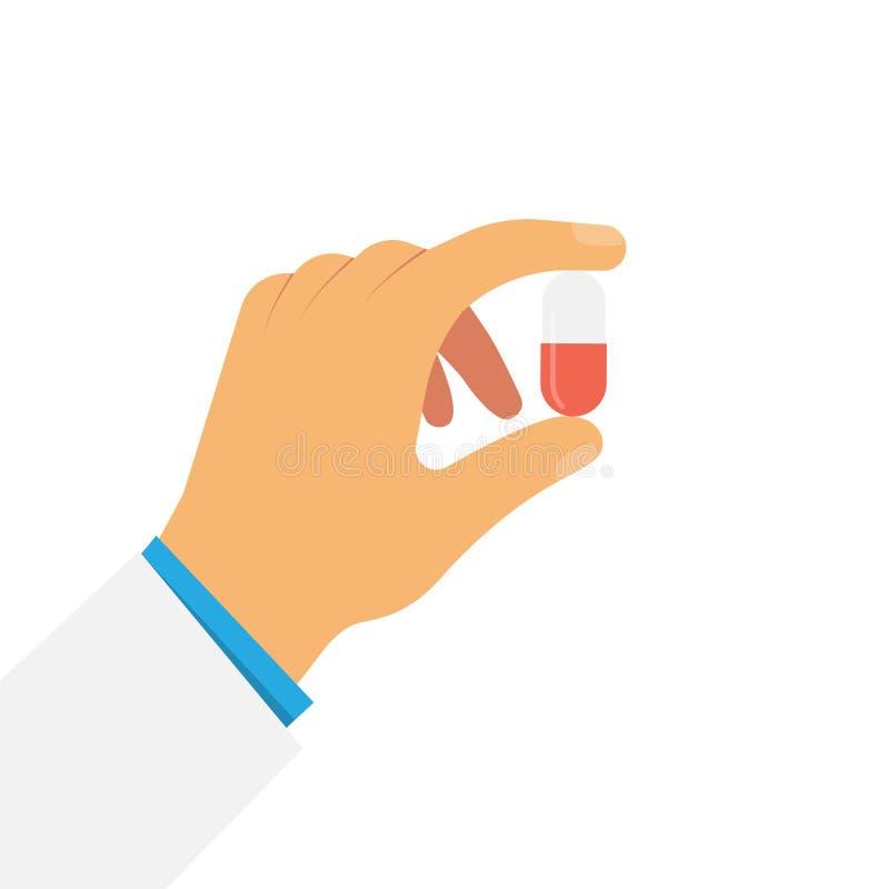 A mão mantém o comprimido isolado no branco ilustração do vetor