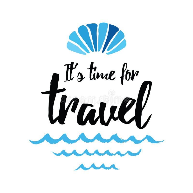 Mão marinha do vetor das horas de verão do shell do mar tirada tempo da frase do molde viajar ilustração royalty free
