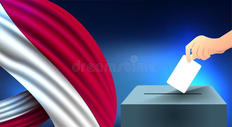 A mão masculina colocou uma folha de papel branca com uma marca como um símbolo de uma cédula na perspectiva da bandeira de Indon ilustração stock