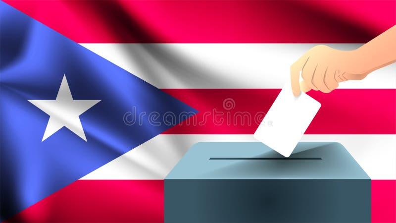 A mão masculina colocou uma folha de papel branca com uma marca como um símbolo de uma cédula na perspectiva do fla de Puerto Ric ilustração stock