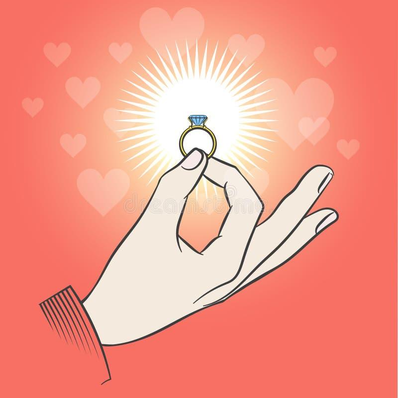 Mão masculina com aliança de casamento ilustração royalty free