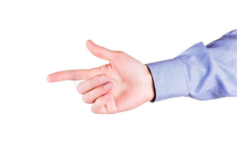 Mão masculina com apontar o dedo que mostra algo foto de stock royalty free