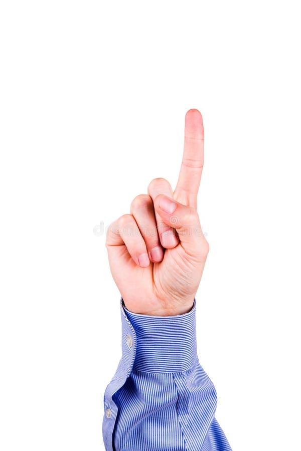 Mão masculina com apontar o dedo que mostra algo imagem de stock