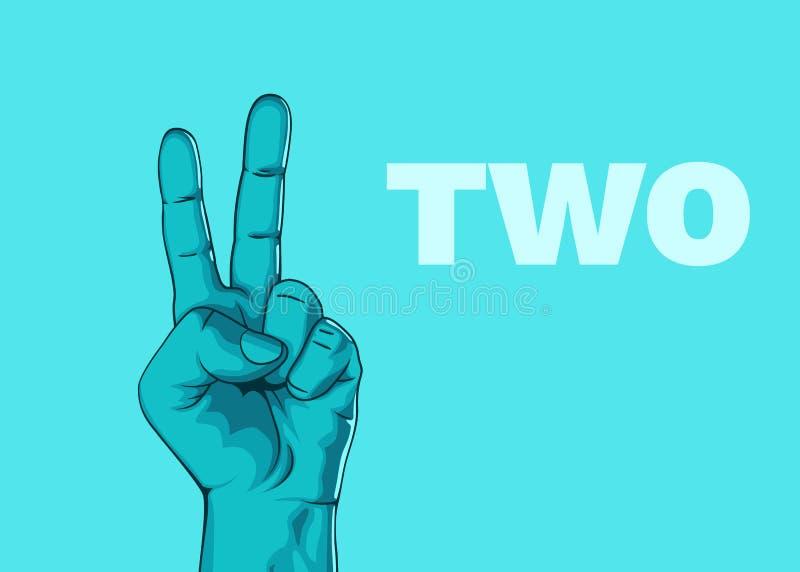 A mão masculina da mão mostra o número dois Projeto moderno ilustração do vetor