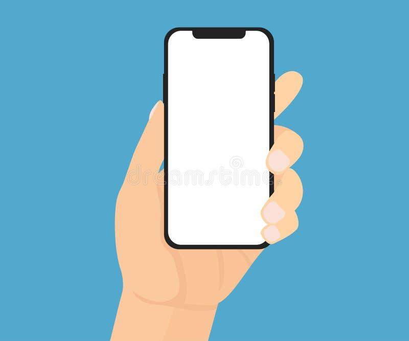 A mão masculina está guardando um telefone ilustração royalty free