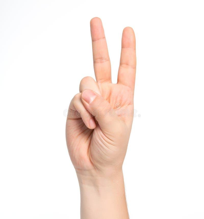 Mão masculina isolada que mostra o número dois imagens de stock royalty free