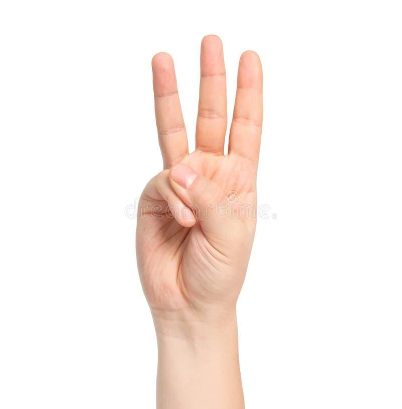 Mão masculina isolada que mostra o número três imagens de stock royalty free