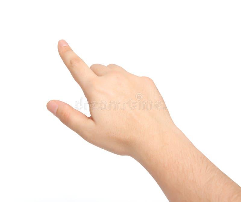 Mão masculina isolada que toca ou que aponta imagem de stock