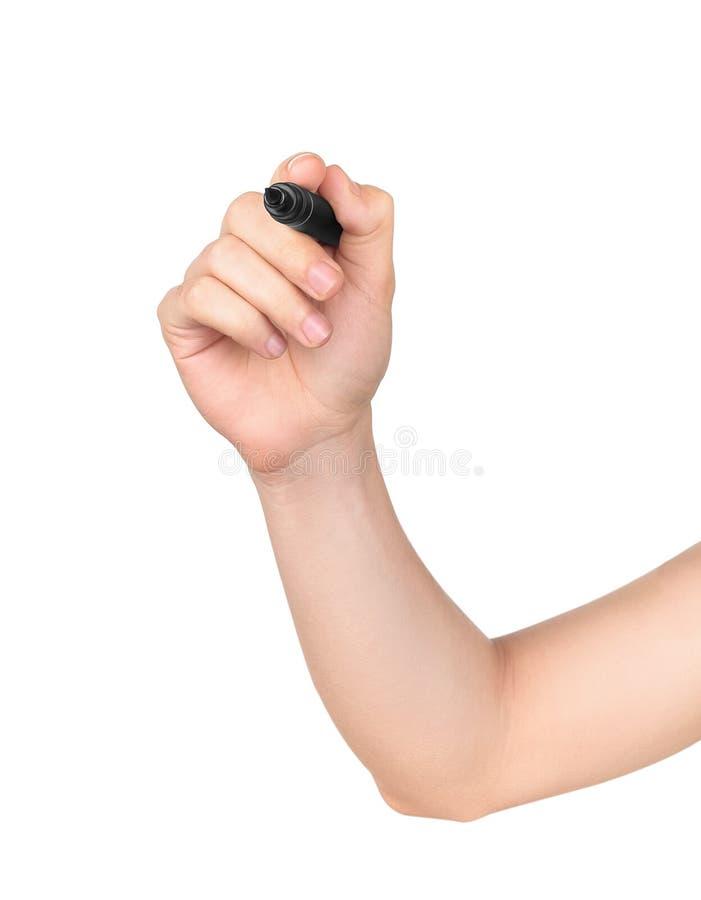 Mão masculina pronta para tirar com marcador preto fotografia de stock royalty free