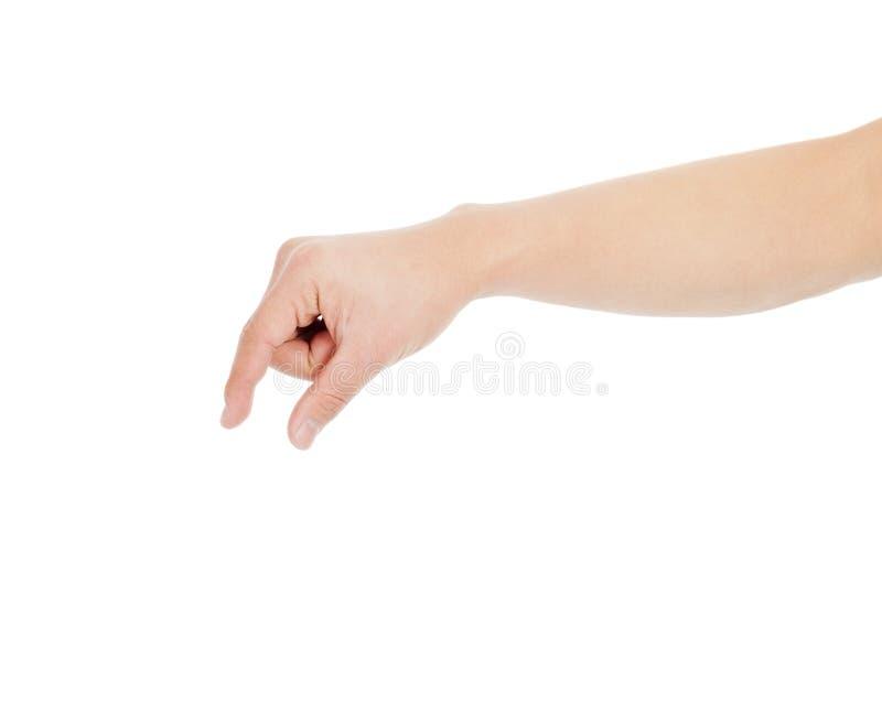 Mão masculina que agarra para algo foto de stock