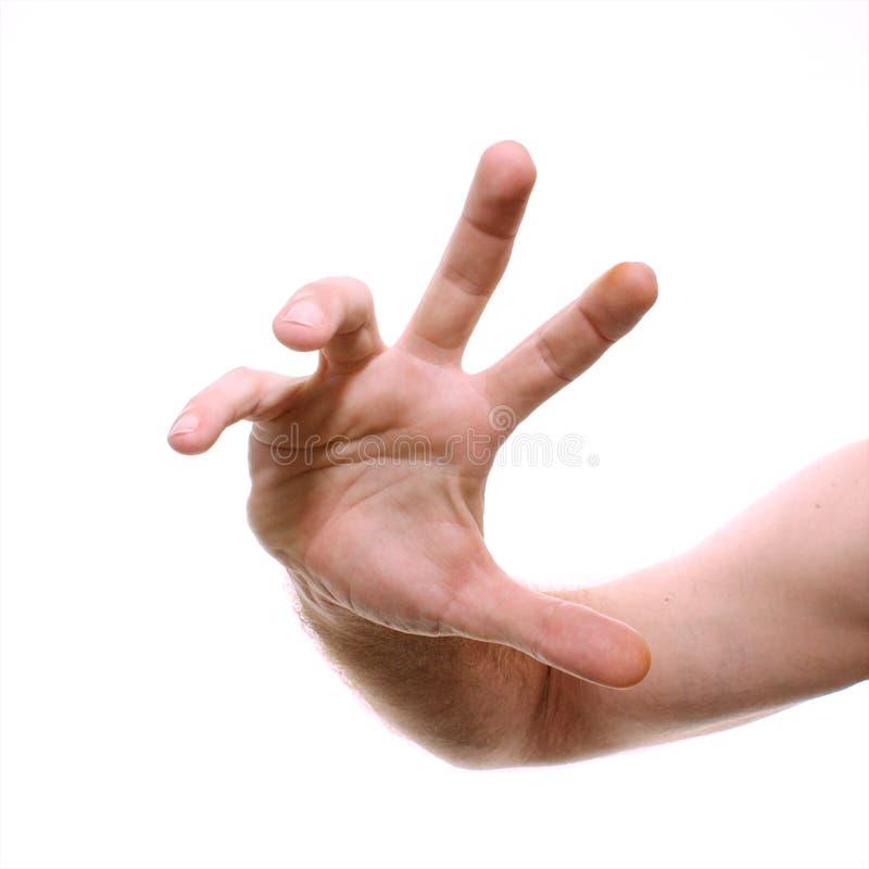 Mão masculina que alcanga para o visor imagem de stock royalty free