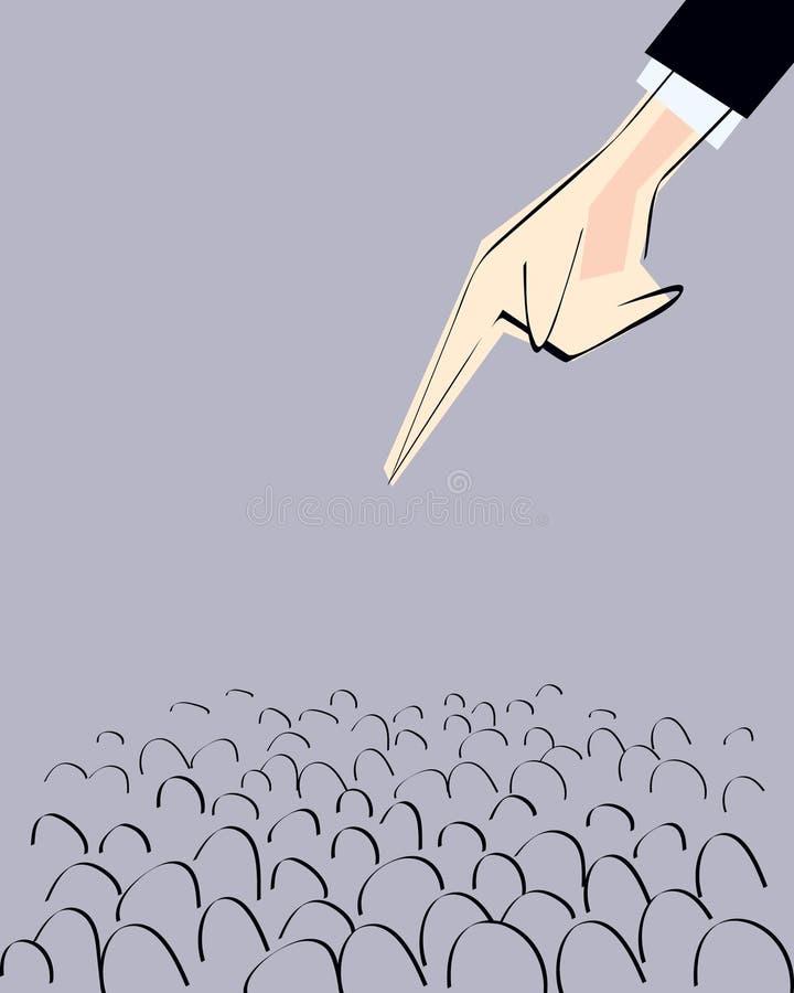 A mão masculina que aponta de cima com do dedo dirigiu para aglomerar-se Ilustração do vetor ilustração do vetor