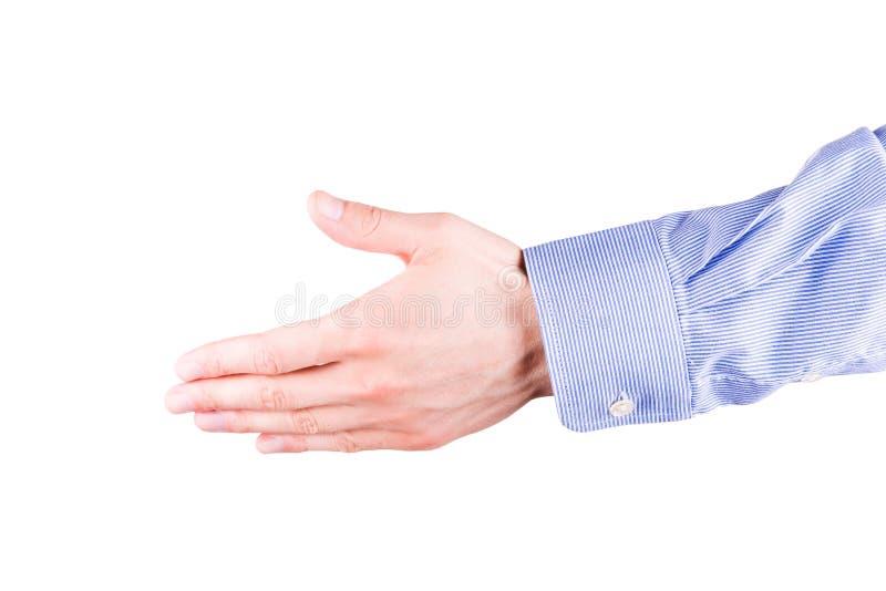Mão masculina que estica para o aperto de mão foto de stock royalty free
