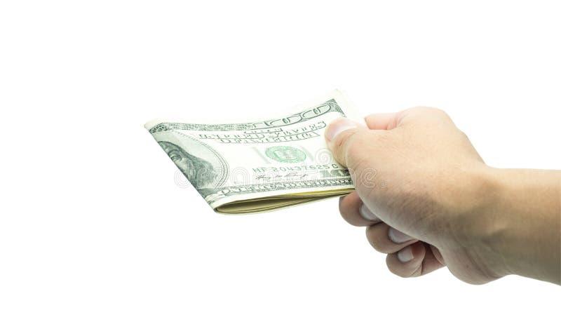 Mão masculina que guarda 100 cem natknotes Economia, dinheiro, doação da finança, doação e conceito do negócio foto de stock royalty free
