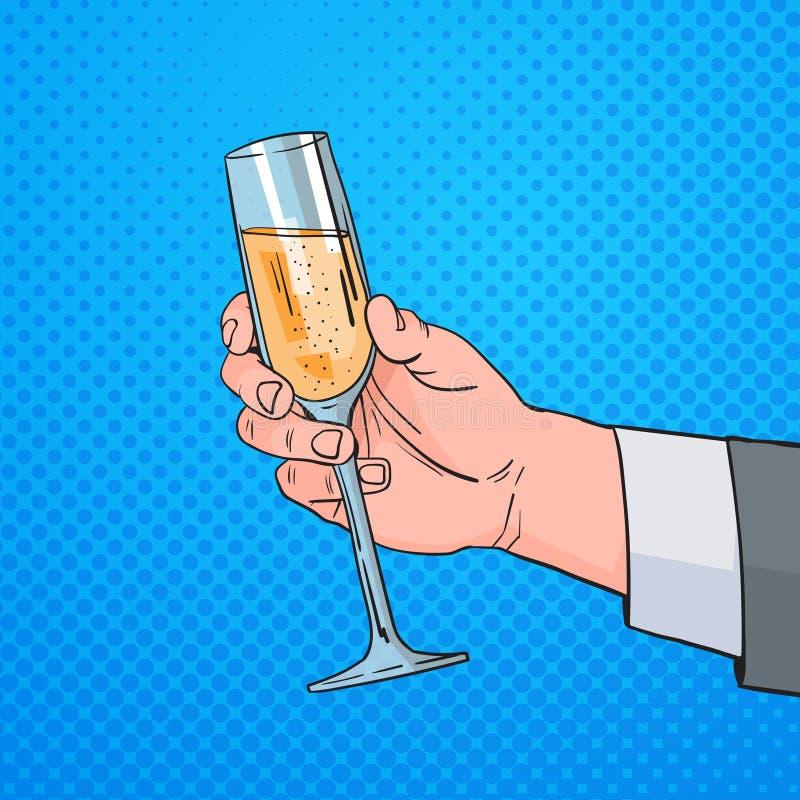 Mão masculina que guarda Champagne Wine Pop Art Retro de vidro Pin Up Background ilustração do vetor