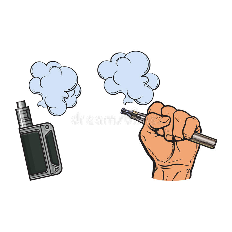 Mão masculina que guarda o e-cigarro, cigarro eletrônico, vapor, fumo que sai ilustração stock
