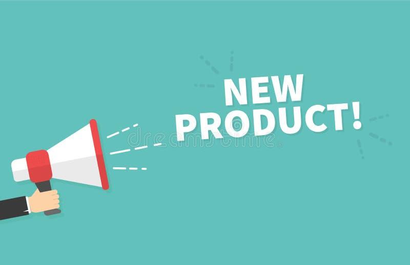 Mão masculina que guarda o megafone com bolha do discurso do produto novo loudspeaker Bandeira para o negócio, o mercado e a prop ilustração royalty free