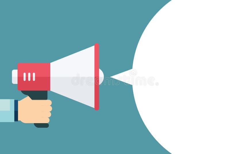 Mão masculina que guarda o megafone com discurso vazio da bolha loudspeaker Molde para o mercado, a promoção e a propaganda digit ilustração stock