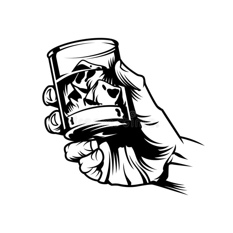 Mão masculina que guarda o vidro do uísque ilustração stock