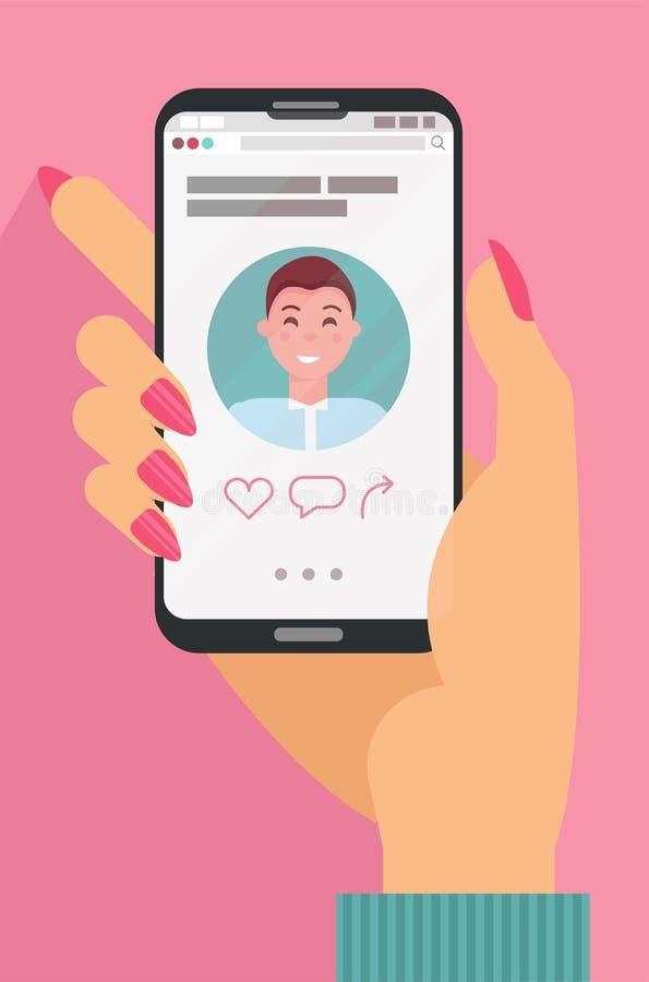 Mão masculina que guarda telefones celulares com perfil datando abstrato do app na exposição Conceito em datar em linha Os homens ilustração do vetor