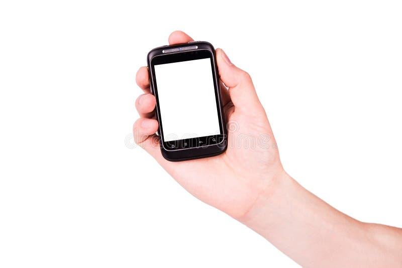 Mão masculina que guardara um telefone móvel com espaço para você texto fotos de stock royalty free