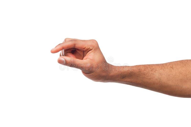 Mão masculina que mede algo, entalhe, gesto imagem de stock royalty free