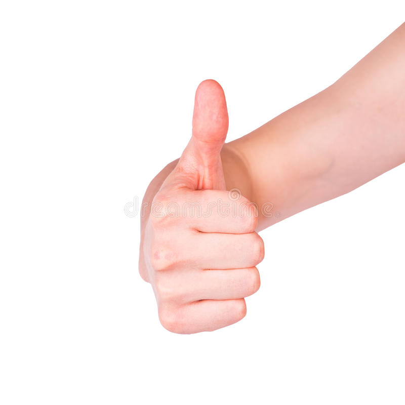 Mão masculina que mostra seu polegar acima. Conceito da positividade. fotos de stock royalty free