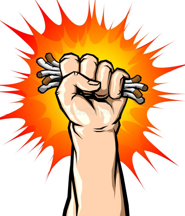 Mão masculina que não quebra o cigarro, o vetor do conceito do fumo parado ou o nenhum dia do mundo do cigarro livre ilustração stock