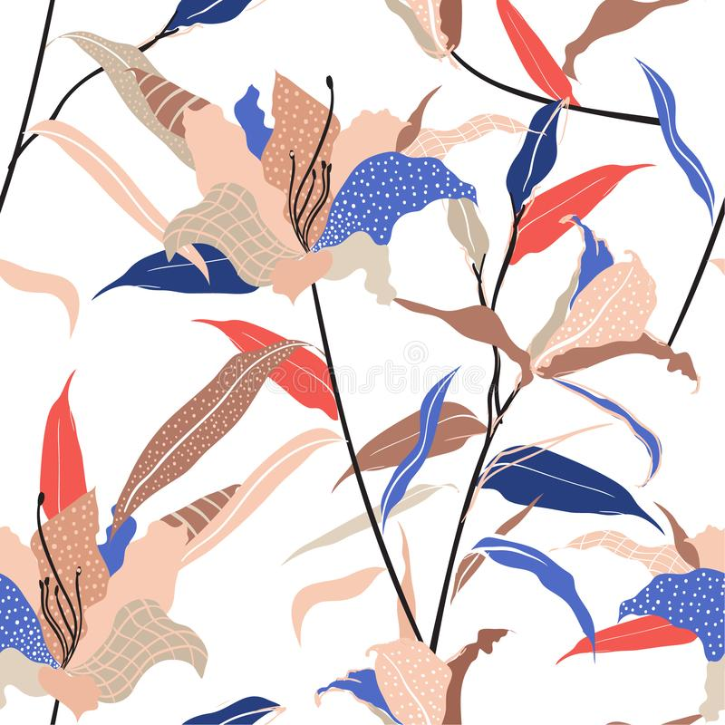 Mão moderna colorida e na moda a suficiência tirada da flor do lírio dentro com linha e os às bolinhas esboçam o vetor sem emenda ilustração stock