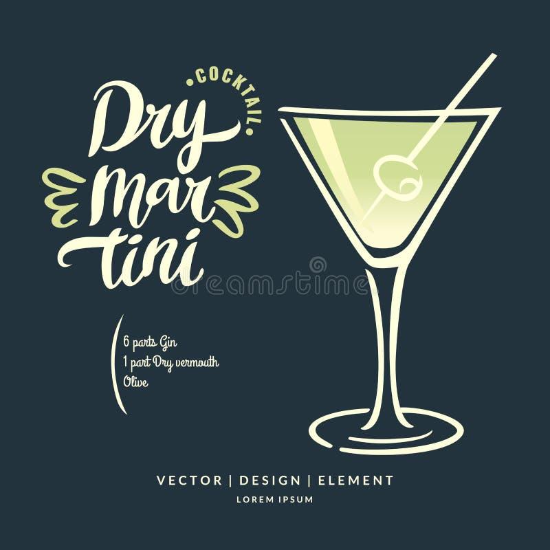 Mão moderna etiqueta tirada da rotulação para o cocktail Martini seco do álcool Escova e tinta da caligrafia ilustração royalty free