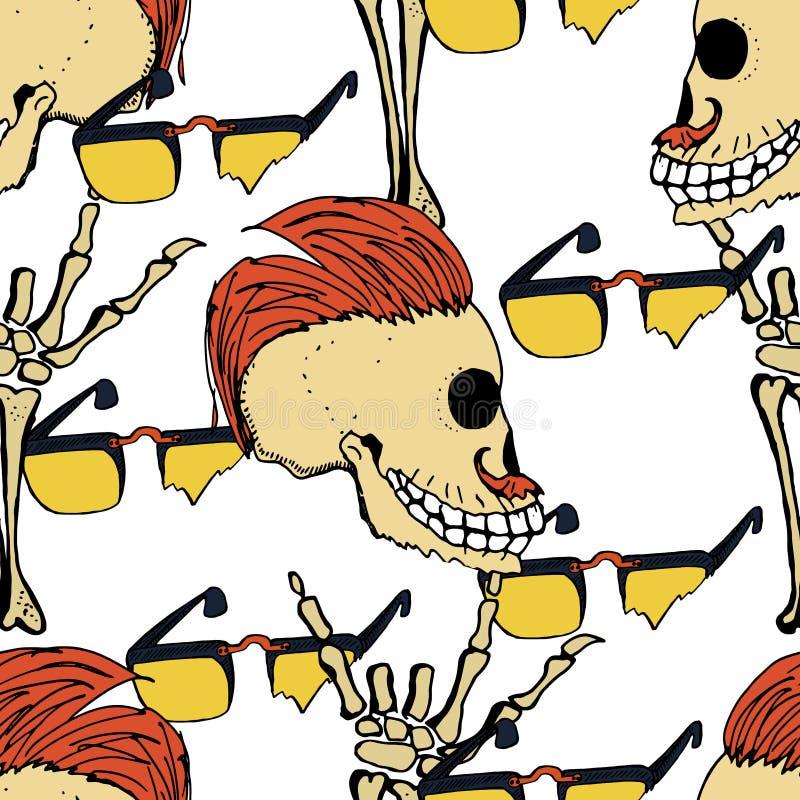 Mão moderna fresca testes padrões tirados por adolescentes com um zombi Fundos sem emenda para o projeto das matérias têxteis, ta ilustração royalty free
