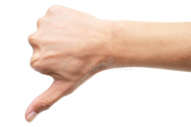 A mão mostra o polegar isolado para baixo no fundo branco imagens de stock royalty free