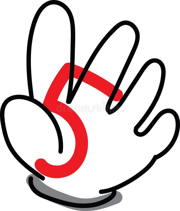 A mão número cinco foto de stock