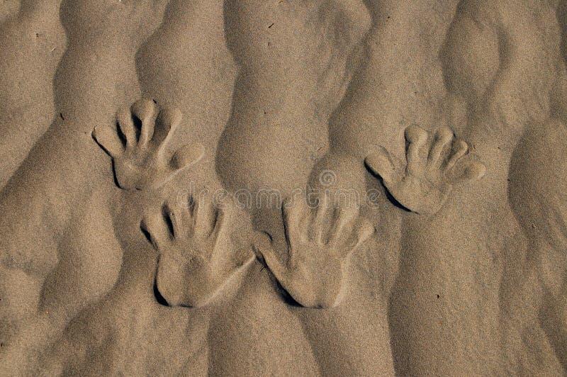 Mão na areia imagem de stock royalty free
