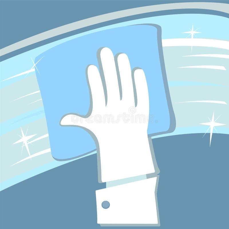Mão na janela de borracha da limpeza da luva ilustração do vetor