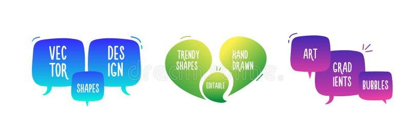 Mão na moda bolhas geométricas abstratas tiradas Bandeira da garatuja do vetor ajustada para seu texto com várias cores Projeto m ilustração royalty free