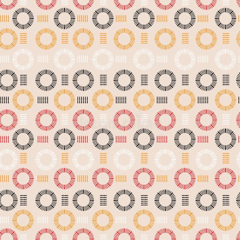 Mão na moda linha tirada círculo em volta do vecto sem emenda do teste padrão da forma ilustração royalty free